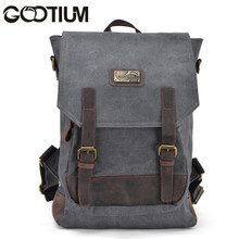 Gootium 40196GRY Canvas Genuine Leather BagPack,Grey