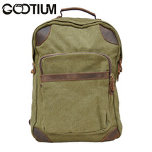 Gootium 40589AMG Canvas Leather Laptop Backpack Rucksack  College Campus School bag Army Green