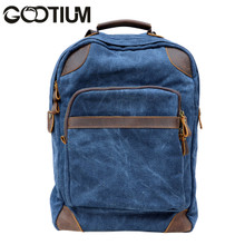 Gootium 40589NV Canvas Leather Laptop Backpack Rucksack  College Campus School bag,Navy