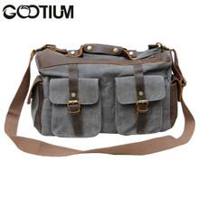Gootium 40591GRY Canvas Genuine Leather Vintage Top Handle Handbag,Grey