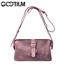 Gootium 40755BR Top Quality Genuine Leather Ladies Cross Body Bag,Brown