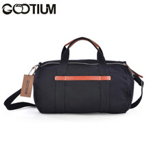 Gootium 40759BLK Canvas Leather Weekend Cross Body Duffle Bag,Black