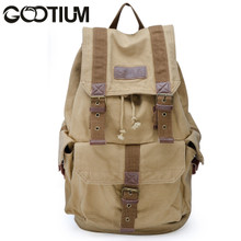 Gootium 21101KA Specially High Density Thick Canvas Backpack Rucksack, Large Size,Khaki