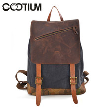 Gootium 41139GRY Canvas Genuine Leather Camouflage Decoration Backpack,Grey