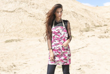 New Woocao Cotton Linen camouflage Garden kitchen BBQ Apron Front Pocket in Red