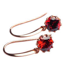 Mnemosyne Hermosa Ruby 14k Rose Gold Plated 925 Sterling Silver Handmade Diamond Earrings Anniversary Earring Birthday Gift