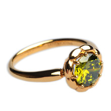 Mnemosyne Elvira Green Gemstone 14k Gold Plated 925 Sterling Silver Unique Engagement Anniversary Peridot Ring