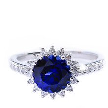 Mnemosyne Jenner Blue Sapphire 14k White Gold Plated 925 Sterling Silver Bridal Wedding Band Jewelry Statement Unique Engagement Ring