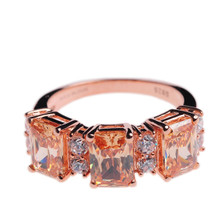 Mnemosyne Kimmy Champagne Gemstone 14k Rose Gold Plated 925 Sterling Silver Bridal Citrine Unique Engagement Fine Jewelry Ring