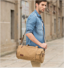 Canvas large men school campus duffle bag camping bag