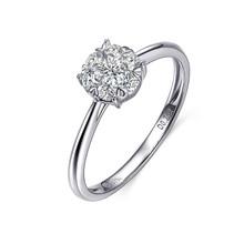 GOLD PROMISE RING, GROUP SET DIAMOND RING IN 18K WHITE GOLD, 0.20 CT DIAMOND COMMITMENT RING