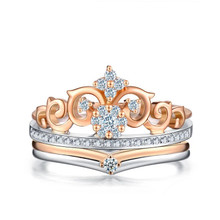 18K Rose Gold White Gold Crown Diamond Wedding Ring set customize