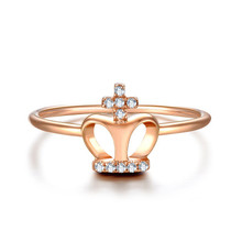 18K Rose Gold Crown diamond ring for lady and girl
