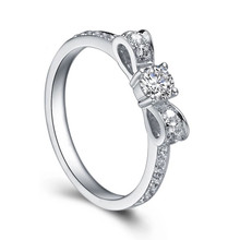 GOLD PROMISE RING, BOW DIAMOND RING IN 18K WHITE GOLD, DIAMOND COMMITMENT RING
