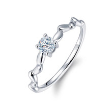 18k Gold Diamond Wedding Promise Ring / Half Eternity Diamond Engagement Prong Setting / Dainty Diamond Ring