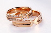 18K Gold Wedding DIAMOND Pair Ring,  Diamond Band, love ring, womens ring, ring for her