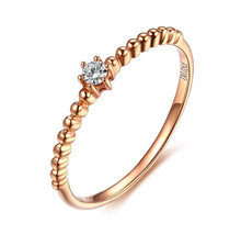 18K Rose Gold Promise Diamond Ring, Engagement Diamond Ring, Wedding Diamond Ring
