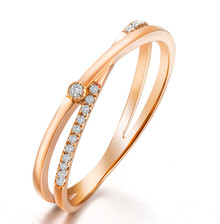 STACKABLE DIAMOND WEDDING CLAW SET BAND HALF AROUND RING IN 18K ROSE GOLD CUSTOMIZE