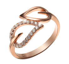 STACKABLE DIAMOND WEDDING CLAW SET BAND DOUBLE HEART DIAMOND RING IN 18K GOLD CUSTOMIZE