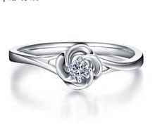 18kt Gold Rose Engagement Diamond Ring, Wedding Ring