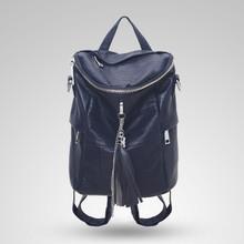 Leather tassel fashion women casual backpack shoulder crossbody bag