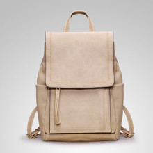 Leather classic vintage  women casual backpack school bag