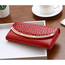 waterproof aligater Leather women girl long folded wallet purse