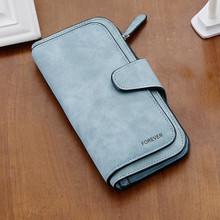 Satin soft Leather women girl folded long wallet purse card holder