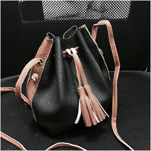 MINI WOMEN CROSS BODY BAG SHOULDER TASSELS PUFF CLUTCH WALLET PURSE BLACK