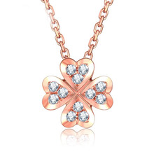 18KT Gold Clover Diamond Pendant custom  Necklace
