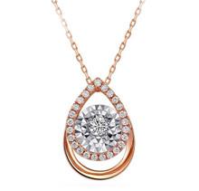 18KT Rose Gold Dancing Round Diamond pendant necklace custom design