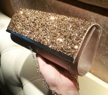 Aretha silk lady shinning clutch evening party bag purse Gold