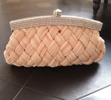 ARETHA SILK LADY BRAID CLUTCH EVENING PARTY BAG PURSE Cream
