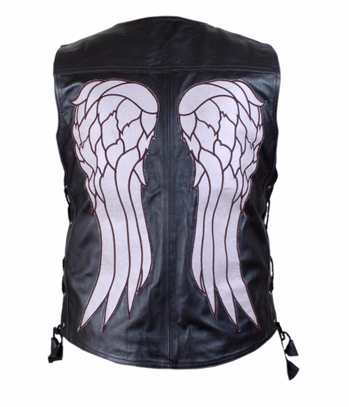 The Walking Dead Governor - Daryl Dixon Angel Wings Leather Vest 1