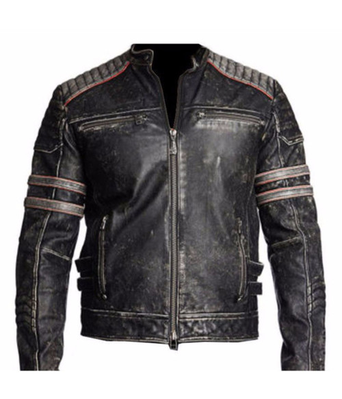 Men's Biker Vintage Motorcycle Distressed Black Retro Leather Jacket 1