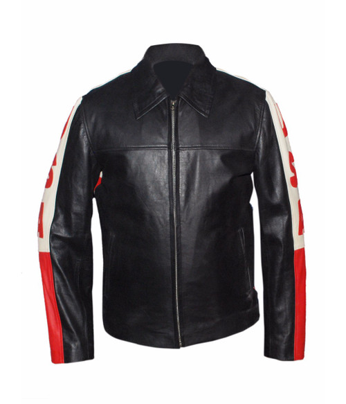 American Flag Biker Style Leather Jacket 1