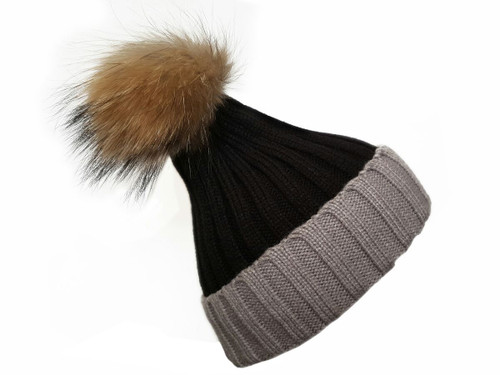 Black and Grey Real Wool & fur Bobble Hat