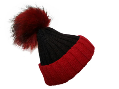 Black and Red Bobble Hat with Brown Fur