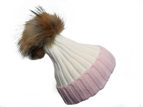 Pink and off White Bobble Hat with Brown Fur