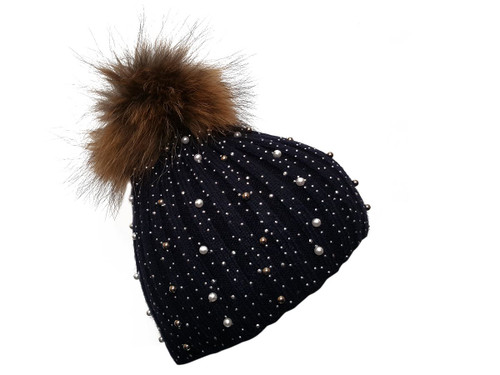 Black Bobble Hat with Brown Fur