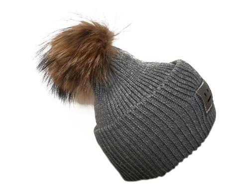 Dark Grey Bobble Hat with Brown Fur