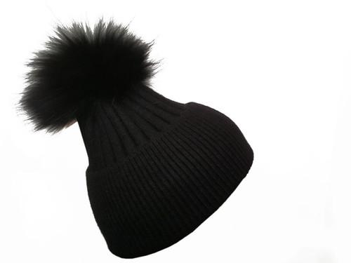 Black Bobble Hat with Black Fur