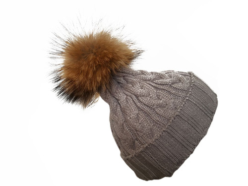 Grey Bobble Hat with Brown Fur