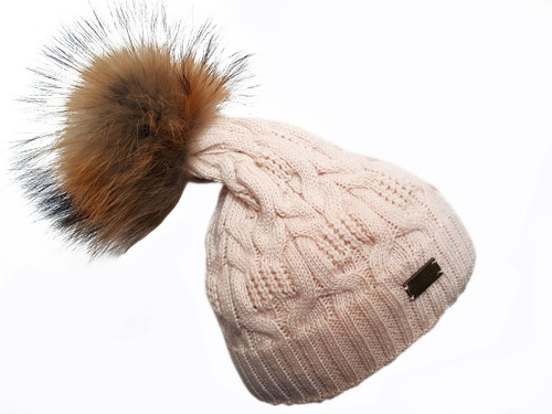 Pink Bobble Hat with Brown Fur