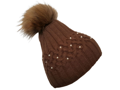 Brown Bobble Hat with Brown Fur