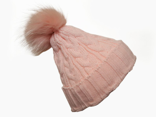Pink Bobble Hat with Pink Fur