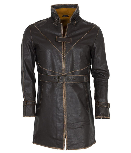 Distressed Brown Genuine Leather Trench Coat
