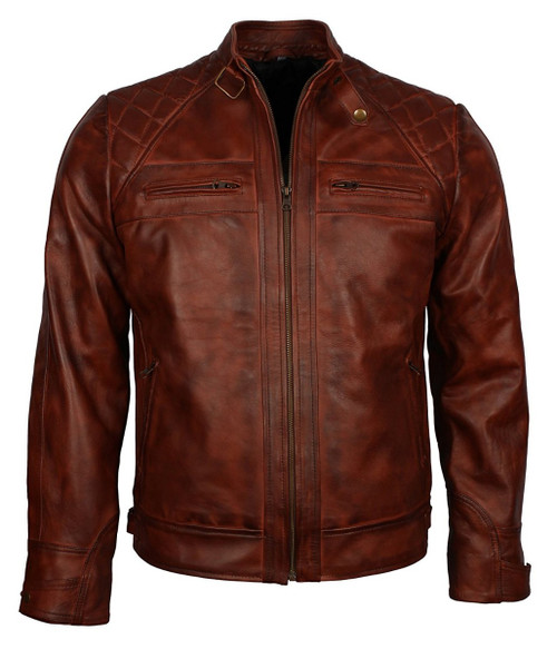 Vintage Brown Crocodile Quilted Biker Motorcycle Genuine Leather Jacket