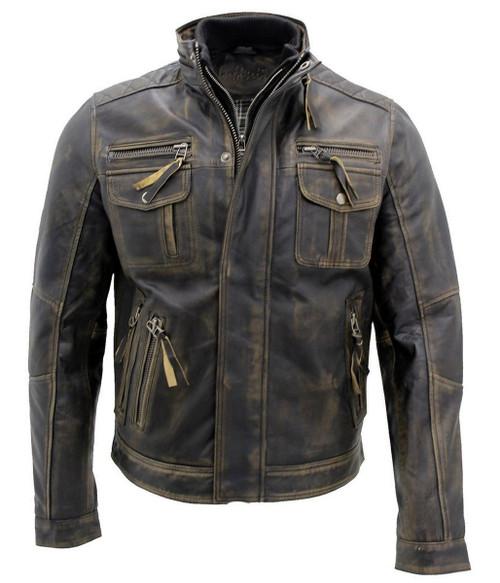 Hot Black Brando Biker Motorcycle Leather Jacket