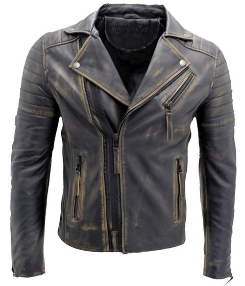 Cross Zip Brando Leather Jacket Black